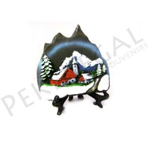 Figura pizarra con base pueblo de montaña