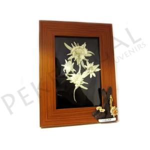 Marco de madera con flor de nieve natural e iman